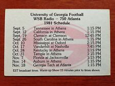 CFB 1981 GEORGIA BULLDOGS Football Schedule College FB WSB / DELTA AIRLINES