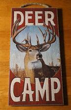 Deer Camp Rustic Wood Grain Hunting Lodge Hunter Cabin Home Decor Buck Sign New