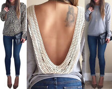 New Womens Backless Long Sleeve Shirt Casual Blouse Tops Shirt Clothing No.1