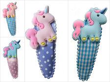 Einhorn Unicorn Kinder Haarspange 5,5 cm rosa lila türkis Vichy Karo Polka Dots