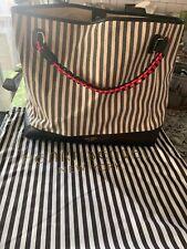 Henri Bendel Canvas Striped Cabana Tote Bag Black And White Nwt