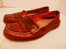Sperry Top Sider Brown Leather Moc Toe Penny Loafers With Kilt-Women's 6.5M