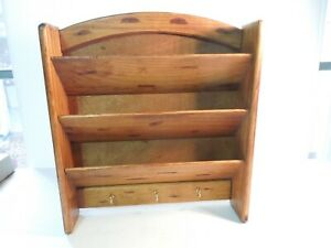 """Vintage Wood Wall Cabinet 3 Tier Letter Holder with 3 Key Hooks 13"""" x 11 1/2"""""""
