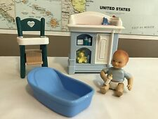 Loving Family Dollhouse Lot, baby, bathtub, high chair, changing table