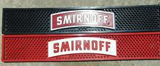 "2) SMIRNOFF Vodka RED/Black Rubber Bar Rail Drain Mat 21""x3.5"" Drink Bar Set **"