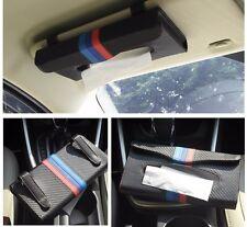 1Pcs ///M Color Leather Strip Carbon Fiber Car Sun Visors Tissue Box Case Holder