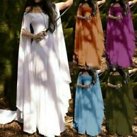 Medieval Women Off Shoulder Dress Fantasy Long Sleeve Dress Cosplay Costume