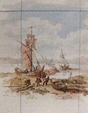 Ecole française du XIX ème s.Bâteaux sur berge.Aquarelle.4,7x3,8.Encadrė.