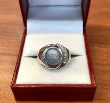 Vintage Estate 14k Natural Star Sapphire And Diamonds Ring.