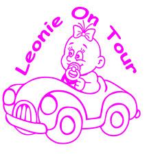 Mädchen On Tour Aufkleber NR 80 Baby Kind  Mit Wunschname und Farbe 200 x 210 mm