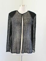 Vtg Womens Black Silk Beaded Sequin Sheer Evening Formal Party Jacket Size L