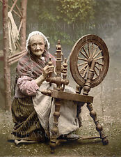 Irish woman spinning wheel 1895 photochrom repro photo CHOIC 5x7 or request 8x10
