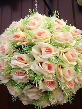 ARTIICIAL CREAM & LEMMON PEACH CENTRE SILK ROSE FLOWER BALL FREE CHAIN NEW IN