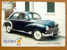 """PEUGEOT  """" 203 C """" 1959 Téléthon 1999 Carte postale Voeux Rétromobile années 50"""