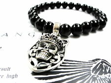 Silver Skull Charm Strech Onyx Bracelet With Black  Diamonds by Sacred Angels