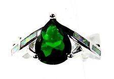 Silver 925 SF Size 10 White Lab Fire Opal & 9*7mm Teardrop Emerald