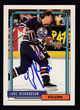 Luke Richardson Hand Signed 1992-93 Topps Hockey Card #409 Oilers COA