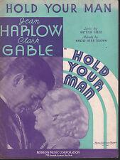 Hold Your Man 1933 Jean Harlow Clark Gable Sheet Music