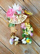"Hand Crafted Wooden Fairy Door Easter Eggs and Bunny Rabbits - 10"" X 6"""