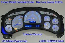 8A 03-04 2003 04 REBUILT CUSTOM WHITE COMPLETE REPLACEMENT BLUE LED GAS CLUSTER