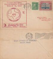 US 1937 EASTERN AIR LINES SURVEY FLIGHT FLOWN COVER BRADY TX TO HOUSTON TX