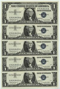 FIVE 1957B $1.00 GEM NEW BLUE SEAL SILVER CERTIFICATES~THESE ARE GEM BRAND NEW!