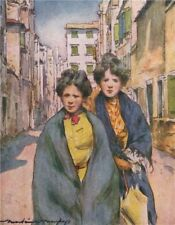 VENEZIA. 'Work girls' by Mortimer Menpes. Venice 1916 old antique print