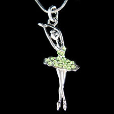 w Swarovski Crystal Green BALLERINA Ballet Dancer Teacher Charm Necklace Jewelry