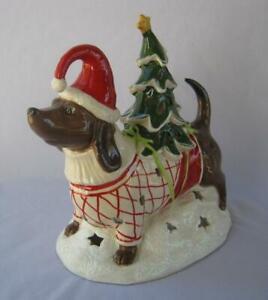 Blue Sky Christmas DACHSHUND WITH TREE Heather Goldminc Tealight Candle Holder