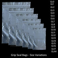 GRIP SEAL BAGS 100, Self Resealable Clear Polythene Poly Plastic Zip Lock Bags