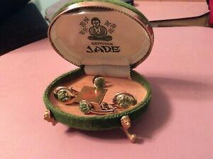 Jade cuff links and tie clip set