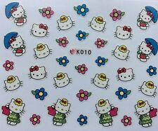 Nail Art 3D Decal Stickers Hello Kitty Umbrella Flowers T-Shirt K010