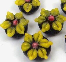 Lampwork Handmade Glass Yellow Black Flower Beads (6)
