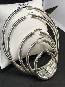 925 Genuine Sterling Silver 4mm Plain Round Hoop Earings width ALL SIZES