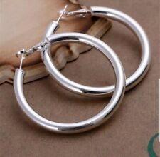 OMEGA STYLE EARRINGS SILVER JEWELRY HOLLOW BIG HOOPS 5CM .925 STERLING SILVER