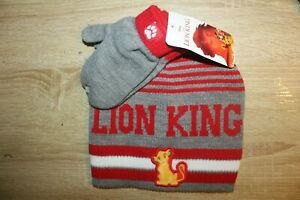 NEW Disney Lion King Toddler Knit Beanie Hat & Mittens Cold Weather Set