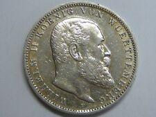 1908 GERMANY 3 MARK VON WUERTTEMBERG WILHELM II SILVER COIN EMPIRE