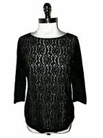 JESSICA HOLBROOK Size L Shirt Top Black Floral Lace Beige Lining 3/4 Sleeve