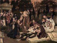 Painting Allegory Biblical Gebhardt Raising Lazarus Canvas Art Print