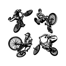 BMX BIKE RIDER TRICKS CLIPART IMAGES-EPS VECTOR CLIP ART-VINYL CUTTER PLOTTER CD