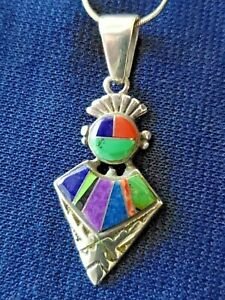 Calvin Begay Necklace Inlaid Pendant sterling silver chain Multi stone lapis