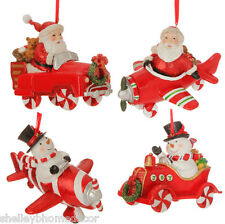 RAZ Peppermint Toy Santa&Snowman in Car & Plane set of 4 4.5 inch pt 3507014 NEW