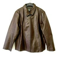 Dialogue Womens Brown Leather Jacket Size XL Extra Large