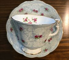 Royal Albert Blue TRUE LOVE Cup and Saucer Pink Roses Gainsborough Style England