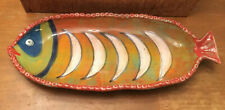 VTG CERAMIC COLORFUL FISH Serving PLATTER Large HAND PAINTED MADE IN ITALY