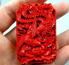 China Red Organic Cinnabar carve Dragon Wind pendant Making jewelry necklace D61