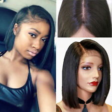 Short Bob Human Hair Lace Front Wig Brazilian Virgin Glueless Nature Straight