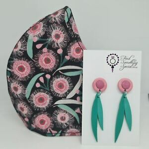 Handmade Face Mask with Matching Polymer Clay Earrings - Gum Blossom
