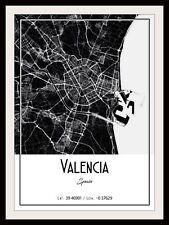 VALENCIA CITY MAP POSTER PRINT MODERN CONTEMPORARY TRAVEL IKEA FRAMES CITIES