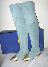 NEW GIANNI VERSACE AQUA SUEDE THIGH HIGH BOOTS W/ GOLD METALLIC LEATHER 37.5